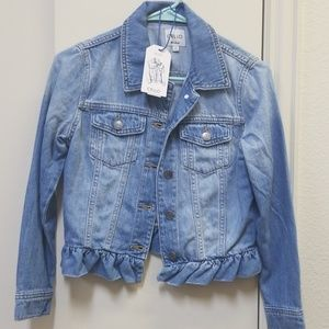 Jean jacket with ruffle detail